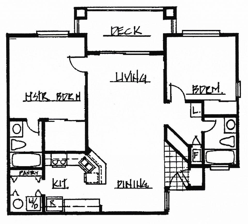 2 Bedroom 2 Bath 957 sq. ft.